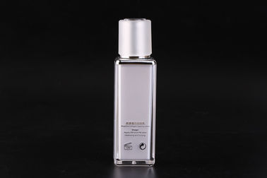 China 80ml PMMA Square Emulsion Cosmetic Pump Bottle Plastic UKLB06 factory